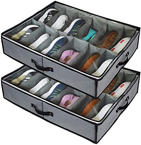Under Bed Shoe Storage Organizers ,2 Pack Fit 24 Pairs  Underbed Shoe Storage Containers Box Bags with Clear Cover  Reinforced Handles  Sturdy zippers Breathable Fabric Grey Set of 2