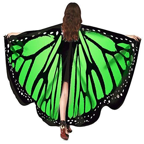 Momoxi Ägypten Damen Butterfly Belly Wings Für Bauchtanz Tanz Schleier Flügel Zubehör Tanzen Kostüm Bauchtanz No Sticks Fasching Karnevalgrün