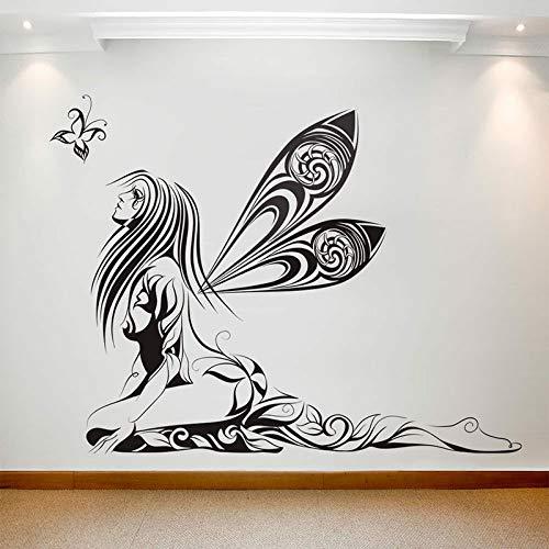 HGFDHG Adhesivo decorativo para pared, diseño de mariposa, diseño de hadas, alas de hadas, vinilo para ventana de estudio de artista, niña, dormitorio, interior Art Deco papel pintado