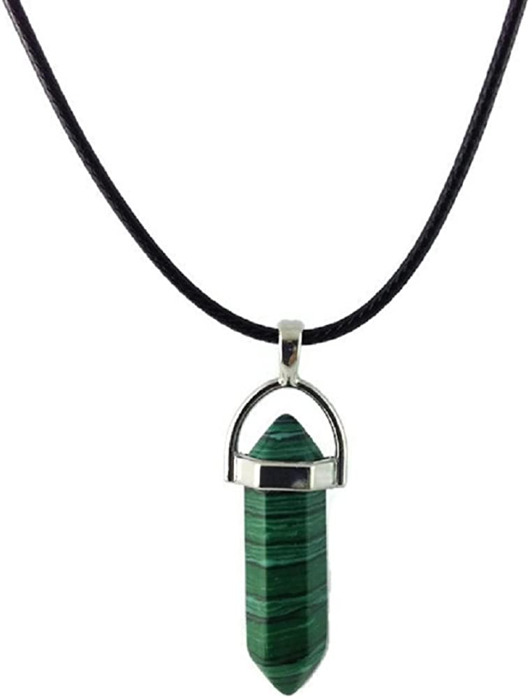 Dastan Necklace Hexagonal Healing Gemstone Pointed Reiki Chakra Pendant on Leather Cord