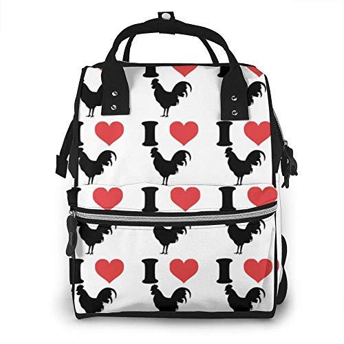 I Love Chicken Bolsa de Pañales Mochila Impermeable Multifunción Bebé Cambiador Bolsas de Maternidad Pañales Bolsas Durables de Gran Capacidad para Mamá Papá, Viaje Bebé Cuidado