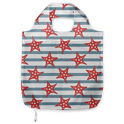 ABAKUHAUS Estrella de mar Bolsa Reutilizable Plegable para Compras, Seastars con rayas,...