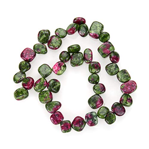 1 Strand Natural Ruby Zoisite Gemstone Free Form Gem Dangle Teardrop Briolette Top Drilled 10-20mm Loose Stone Beads 15 Inch for Jewelry Craft Making GZ6-13