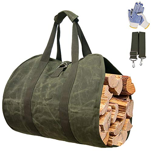 Gialer Log Carrier for Firewood Waxed Canvas Tote Bag Log Carrier for Firewood Durable Firewood Carrier with Handles Security Strap Camping Indoor Firewood Log Holder Birchwood Stand