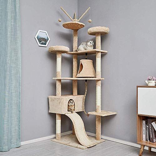 Gulunmun Chat s Scratch Posts sisal Big Cat Tree Tower Condo Meubles Jumping Toy avec échelle pour Chatons Pet House Play-White_L_