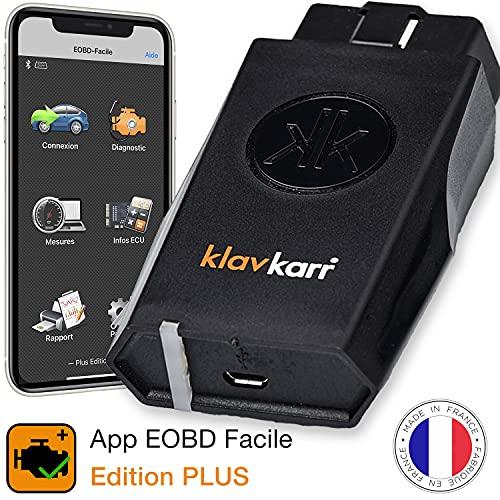 klavkarr 210 - Strumento di diagnosi Auto Multimarca OBD2 Bluetooth - 100% in Italiano - Presa OBD Diagnostica Auto Diesel & Benzina su iPhone Android