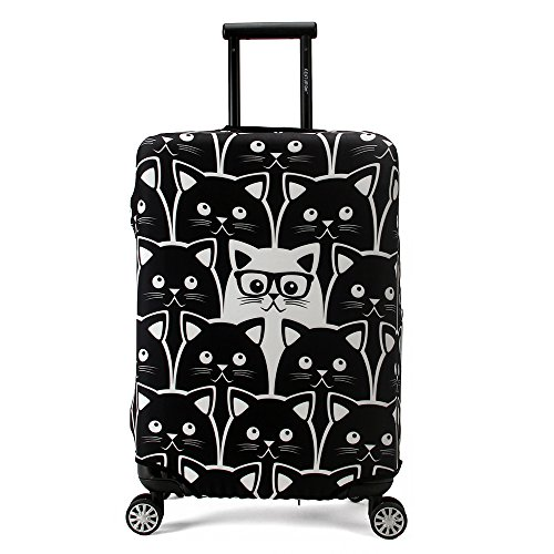 Maady's Home Elastic Dustproof Travel Luggage Suitcase Protective Cover Trolley Luggage Baggage Protector Case for 23'-32' Inch Luggage (Cat, L (26'-28' inch Luggage))