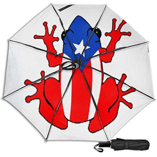 Puerto Rico Frogfashion Manual Vinilo Paraguas Triple Protector Solar Protección UV Paraguas...