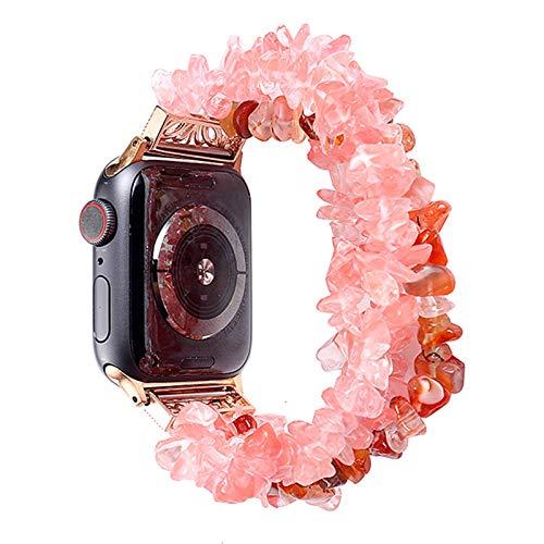 TGGFA Pulsera de Reloj de Apple for Las Bandas de 42 mm 44 mm Mujeres Natural Hecho a Mano de la Correa de Piedra reemplazo for la Serie de IWatch 5 4 3 2 1 40 mm 38 mm