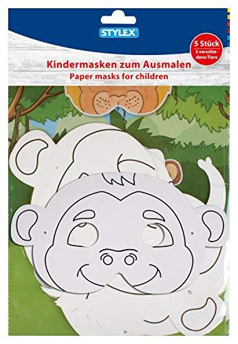 Stylex 46481 - Kindermasken, Tiermasken zum Ausmalen und Verzieren, 5 Stück (Löwe, Elefant und Affe), ideal für den Kindergeburtstag oder Fasching
