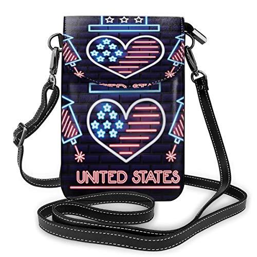 Generic Personality American Love Kleine Umhängetasche, Handtasche für Damen, PU-Leder, Handtasche mit verstellbarem Riemen für den Alltag