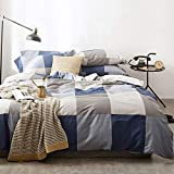 OREISE Duvet Cover Set Full/Queen Size 100% Cotton Bedding Set Gray Tan Blue Printed Grid Style,3Piece (1 Duvet Cover + 2 Pillowcase),Comfortable Luxurious Hypoallergenic