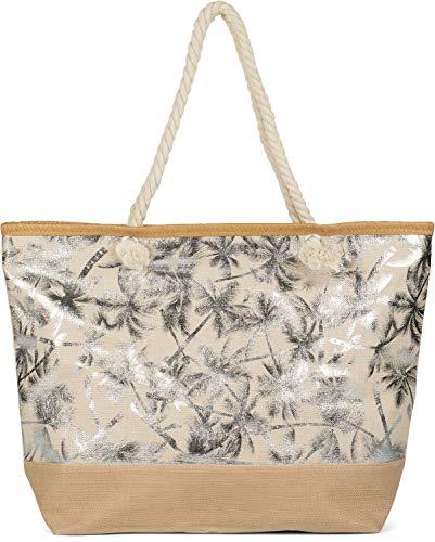 styleBREAKER Damen XXL Große Strandtasche mit Metallic Palmen Muster und Reißverschluss, Schultertasche, Shopper 02012343, Farbe:Beige-Silber