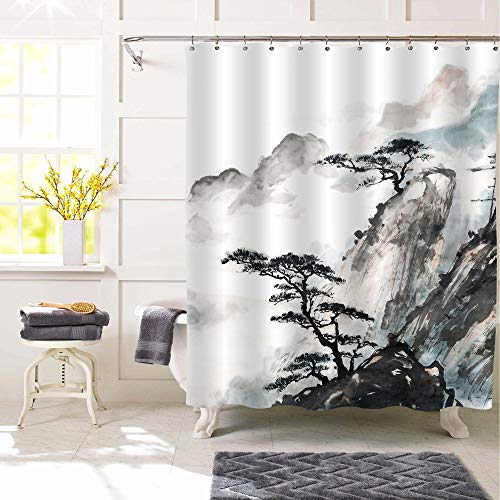 """MitoVilla Foggy Mountain and Pine Tree Shower Curtain for Asian Themed Bathroom Decor, Chinese Traditional Watercolor Abstract Artwork of Nature Scenic Bathroom Accessories, Black White, 72"""" W x 72"""" L"""