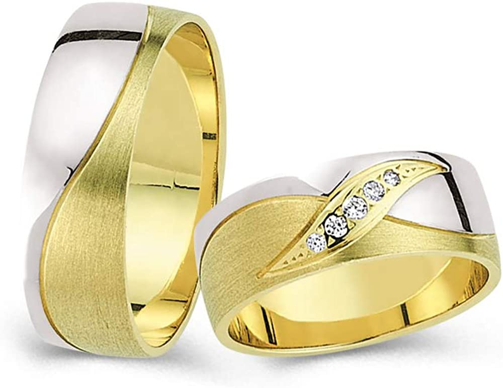 Anelise 14K Real Industry No. 1 Solid Yellow White Band Gold Free shipping anywhere in the nation 1382 Fine Wedding