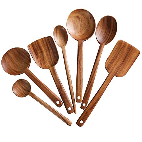 7pcs Long Handle Wooden Cooking Utensil Set Non-stick Pan Kitchen ToolNAYAHOSE Wooden Cooking Spoons and Spatulas by UBae 7pcs Set