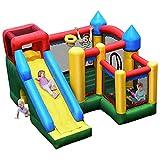 COSTWAY Casa Gonfiabile, Castello Gonfiabile per Bambini con Scivolo, Include Borsa di Trasporto e 50 Palline, 315 x 324 x 221 cm, Ideale per Interno ed Esterno