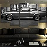 Cuadro Mustang Gt500 Eleanor XXL Impresiones En Lienzo 5 Piezas Cuadro Moderno En Lienzo Decoración para El Arte De La Pared del Hogar 150×80 Cm HD Impreso Mural (Enmarcado)
