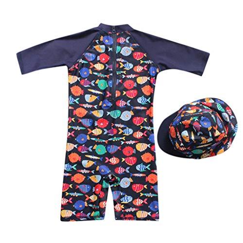 bañador Manga Larga Protección Solar UV para niño bebé, Trajes de baño Gorra de baño...