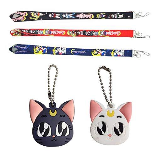 Bo Feng 5Pcs Sailor Moon Luna Cardcaptor Sakura Cat Keychain Cover Cap Cosplay Prop Pendant Keyring Key Chain Anime Landyard, Multicoloured, Medium