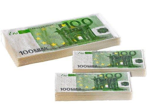Pearl Lot de 20 mouchoirs et 10 Serviettes au Design de 100 Euros, NC2774, Vert
