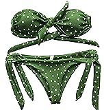 Lovelegis Costume Mare Due Pezzi Donna - Bikini - Top - Slip - Mare - da Bagno - Ragazza - Regolabile - Pois - Colore Verde e Bianco - Taglia M
