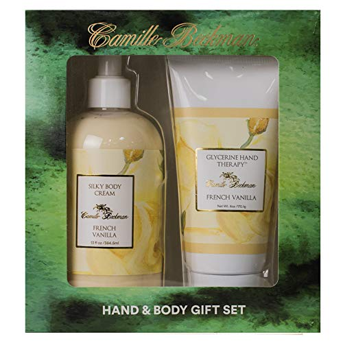 Camille Beckman Hand and Body Duet Set, Silky Body and Glycerine Hand Cream, French Vanilla