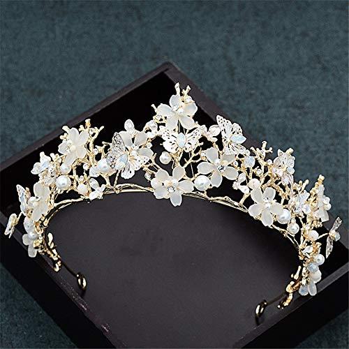 Crystal Crown Cinta de Cabeza, joyería del Rhinestone Tiara Accesorios Hechos a Mano del Pelo de Regalo de cumpleaños de la Princesa Fiesta de la Boda Mujeres Niñas Prom Queen Novia (Oro)