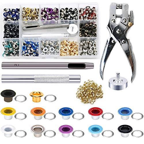Queta 701 alicates de ojales metálicos de 5 mm, kit de herramientas con punzón, ojales para lona, herramientas para zapatos, bolsos de cuero, ropa, manualidades
