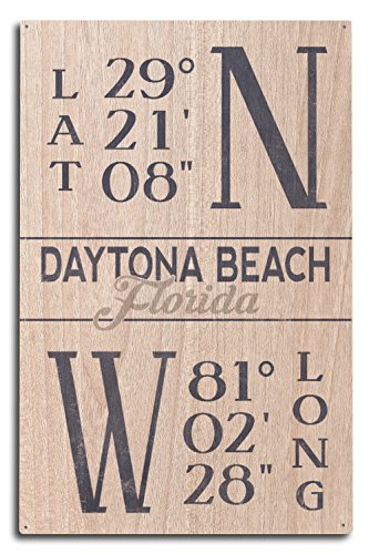 Lantern Press Daytona Beach, Florida - Latitude and Longitude (Blue) (10x15 Wood Wall Sign, Wall Decor Ready to Hang)