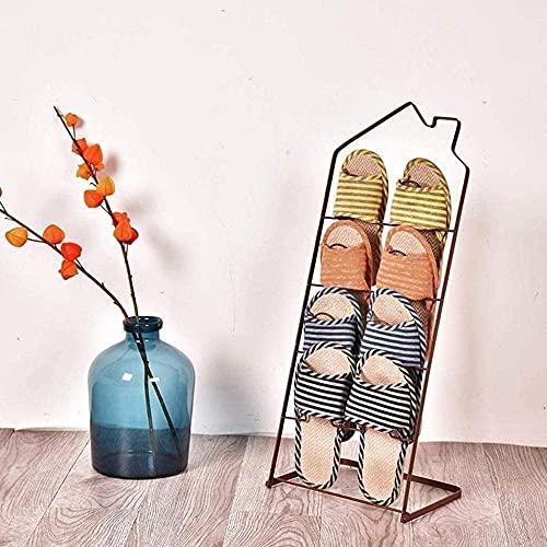 ZAIHW Zapatero Zapatero Creativo de Hierro, Zapatero Simple para Sala de Estar, Zapatero para baño, Taburete para Cambiar Zapatos (Color: Marrón)