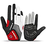INBIKE Cycling Gloves Men, 5mm Gel Pad Touch Screen Full Finger Biking Gloves MTB Outdoor Red Large