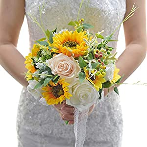 MOJUN Bride Groom Bridesmaid Wedding Flower Boutonniere Corsage Set Simulation Sunflower