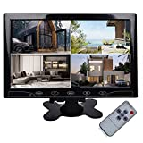 TOGUARD 10.1' Inch Ultrathin Color Security CCTV Monitor 1024x600 Resolution Touch Buttons Video and Audio LED Display Screen with Remote Control AV/VGA/HDMI Input
