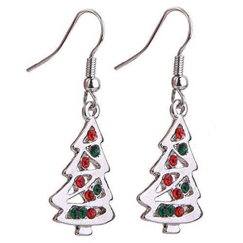 TOOGOO(R) Pendientes colgantes En forma de arbol de Navidad Rojo Y Claro De Cristal Regalo De Navidad
