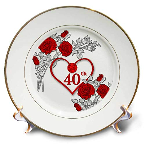 3dRose Red Heart and Roses 40Th Ruby Anniversary for Wedding Or Business Porcelain Plate, 8'