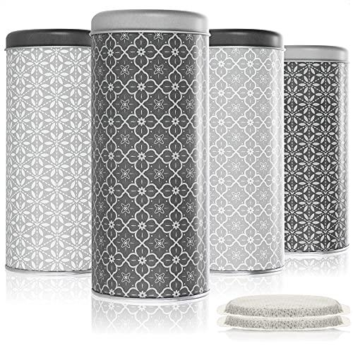 com-four® 4X Kaffeepaddose - Aufbewahrungsbehälter für Kaffeepads - Dekodose mit verschiedenen Motiven (4 Stück - Set 4)