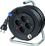AS Schwabe 10180 - Carrete alargador de cable (tamaño pequeño, 15 m, H05VV-F 3G1,5, IP20 en interiores), color negro