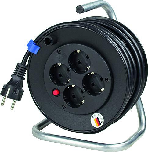 as - Schwabe 10180 Mini-Sicherheits-Kabeltrommel, schwarz 180mmØ 15m H05VV-F 3G1,5 schwarz, IP20 Innenbereich