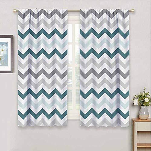 Geometric Decor All Season Insulation Curtain, Curtains 45 inch Length 70s Chevron Zig Zag Design Pattern Theme Bathroom Curtain LGray White and Teal W63 x L45 Inch