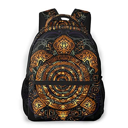 Mochila de viaje para computadora portátil,tatuaje de tortuga marina tribal dorada polinesia en el caparazón sobre una mochila negra antirrobo resistente al agua para empresas,delgada y duradera