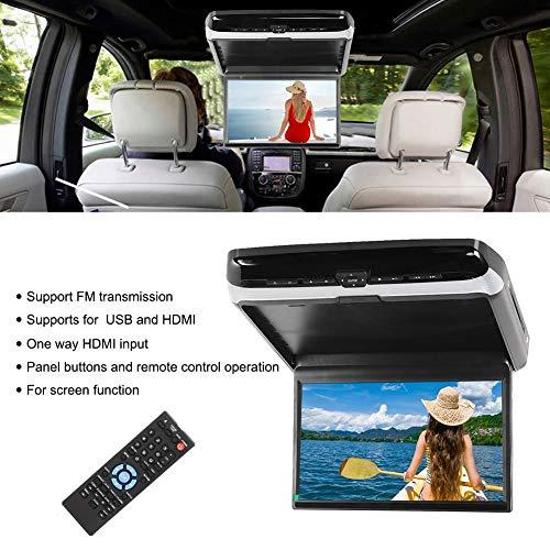 Reproductor MP5 para automóvil - Monitor de techo para automóvil de 13.3 pulgadas 1920x1080 MP5 Reproductor de DVD abatible para montaje en techo para HDMI USB