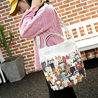 Gimax Clutches - MOLAVE Shoulder Bag Students Cartoon Cats Printed Beach Bag Canvas Tote Shopping Handbags Femme Bags Bolsa Feminina 18JUNE6 - (Color: d)