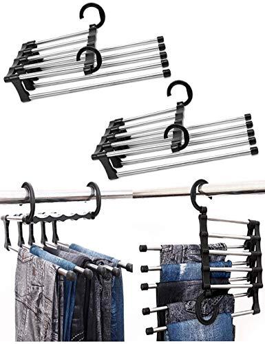 Gruccia regolabile per pantaloni e pantaloni, organizer a 5 strati, in acciaio inox, salvaspazio, per sciarpe, porta asciugamani antiscivolo 5 in 1, per armadio e casa (2, nero)