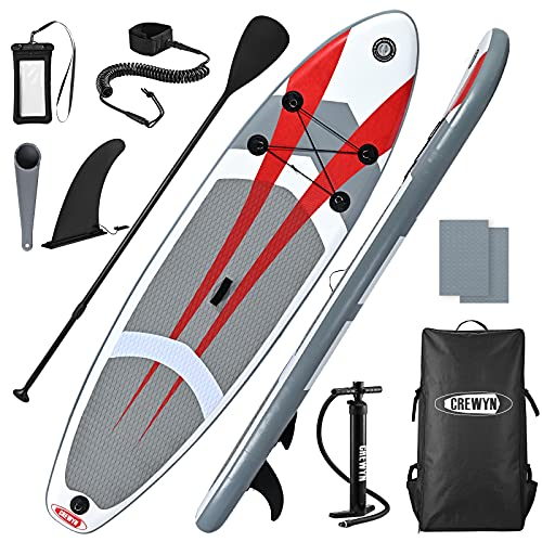 CREWYN Inflatable Stand Up Paddle Board - 10x30x6 Lightweight Paddle Board with SUP Accessories, Wide Stance Non-Slip Deck, Hand Pump, 3 Bottom Fin for Surf Control & Backpack ISUP for Adults Youth