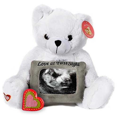 My Baby's Heartbeat Bear Recordable Stuffed Animals 20 sec Heart Voice Recorder for Ultrasounds and Sweet Messages Playback, Perfect Gender Reveal for Moms to Be, White Love Bear