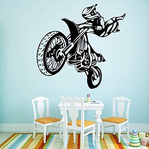Pegatina de pared de vinilo adhesivo removible motocicleta pegatina de nevera calcomanía 58x60cm
