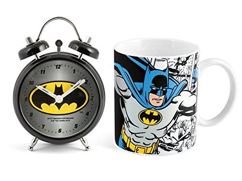 HOME Batman Set Despertador Taza, Porcelana, Negro, 2Unidad