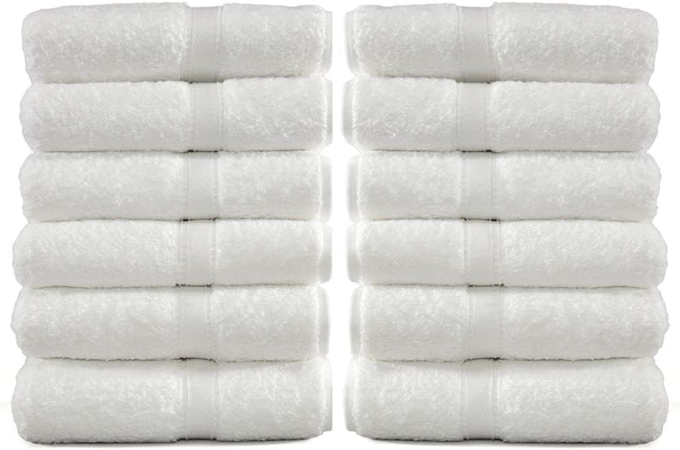 12 Pack Luxury Cotton White Washcloths – Hotel & spa Absorbent Face Towels, Fingertip Terry Towels, (13'' x 13'')
