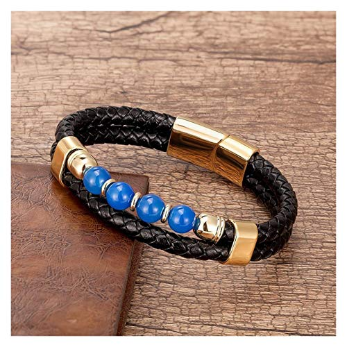 Personalised Fashion Natural Stone Beads Men's Bracelet for Women Unique Multilayer Genuine Leather Charm Bracelets 9 Style Handmade Jewelry for Men (Length : 23cm, Metal Color : Gold Blue Agate)
